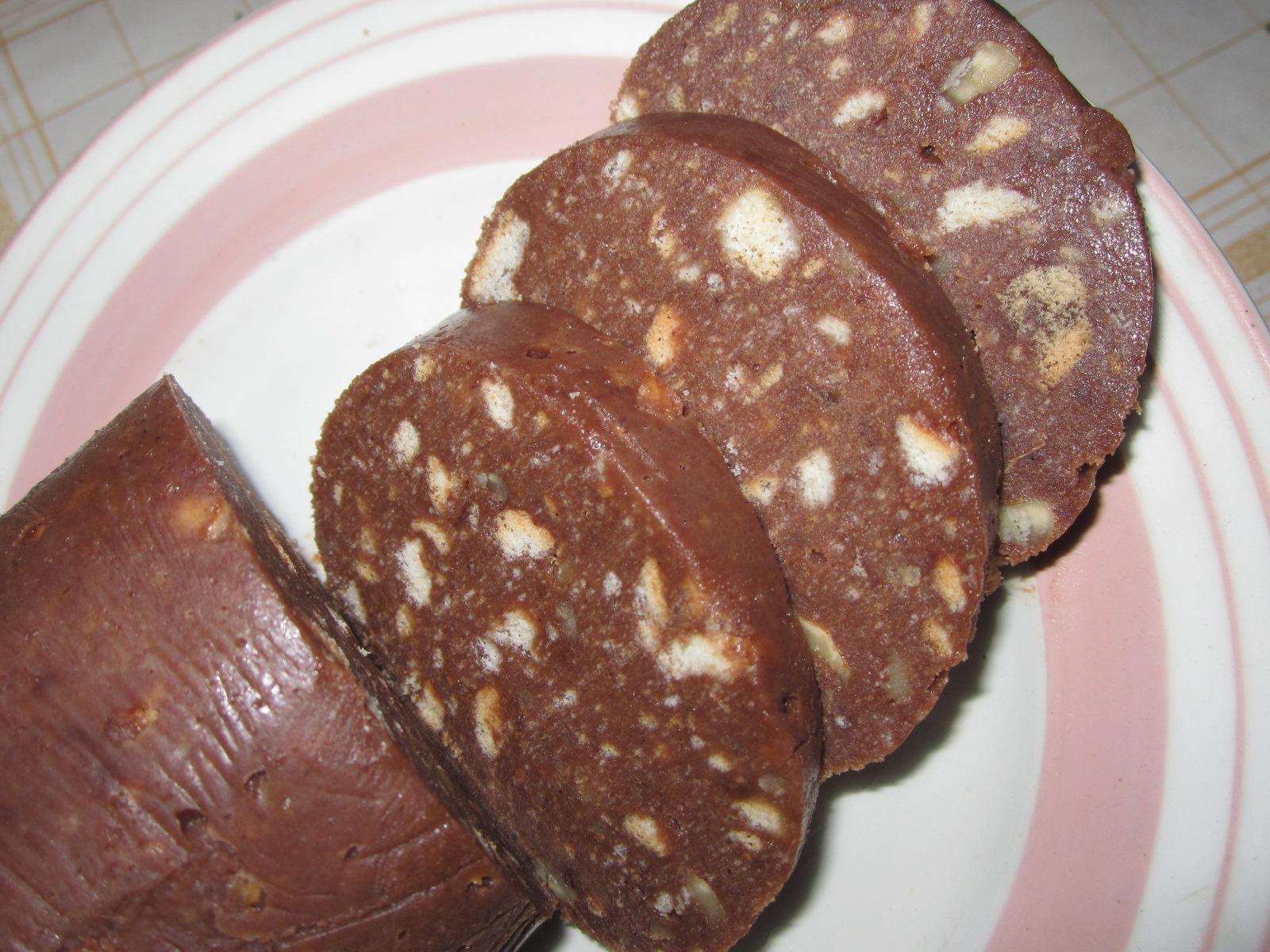 Как сделать шоколадную колбасу фото и рецептами