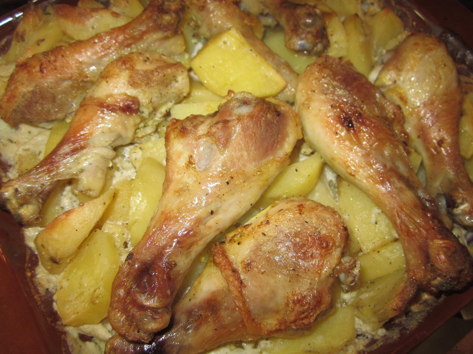 куриные ножки запеченные в духовке с картошкой