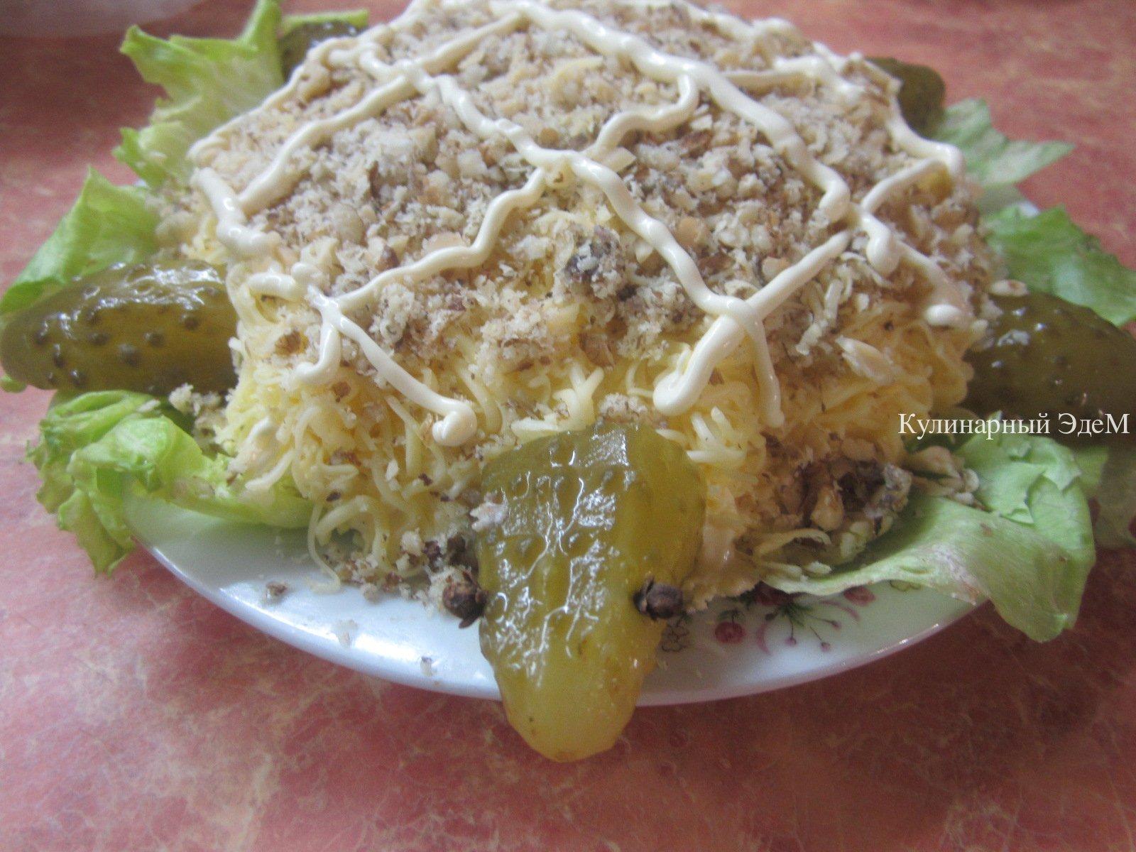 Салат черепаха пошаговый рецепт с копченой курицей