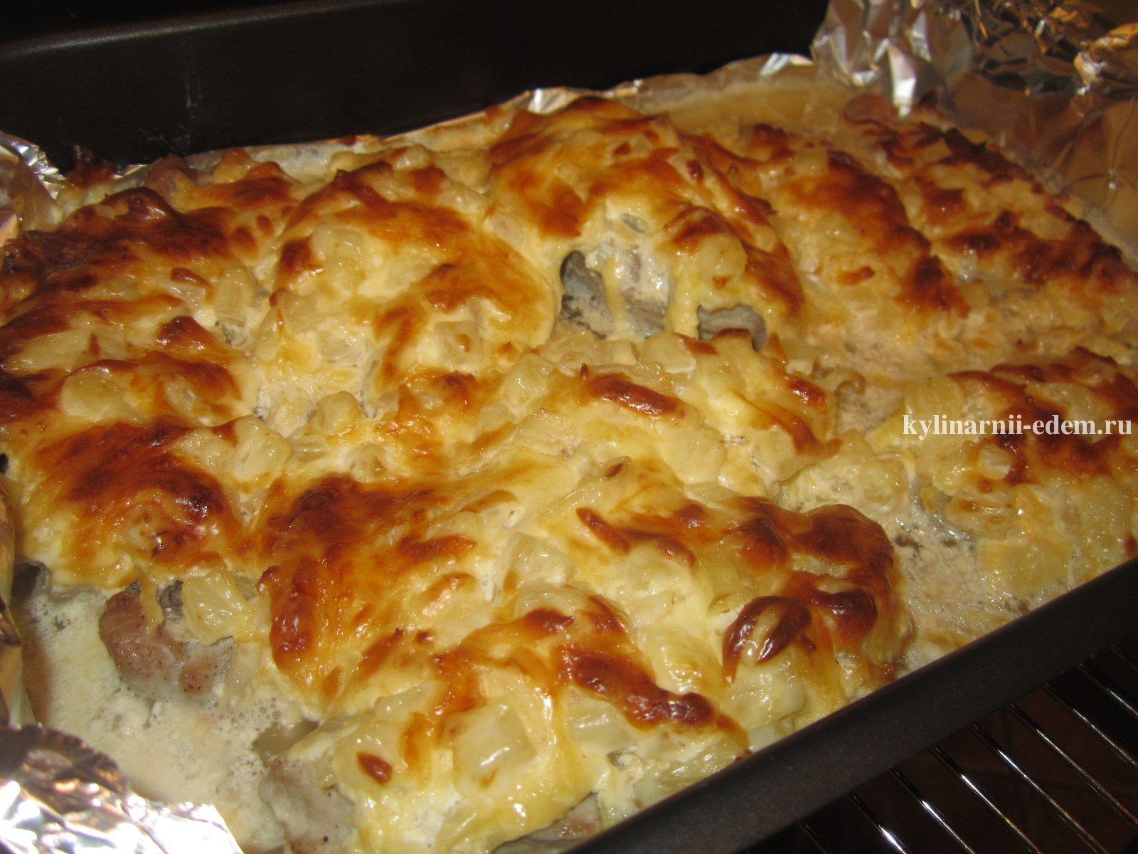 Отбивные из свинины в духовке с сыром и ананасом рецепт пошагово в